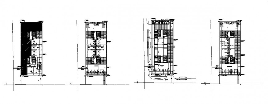 Four story residential building floors framing plan structure cad drawing details dwg file