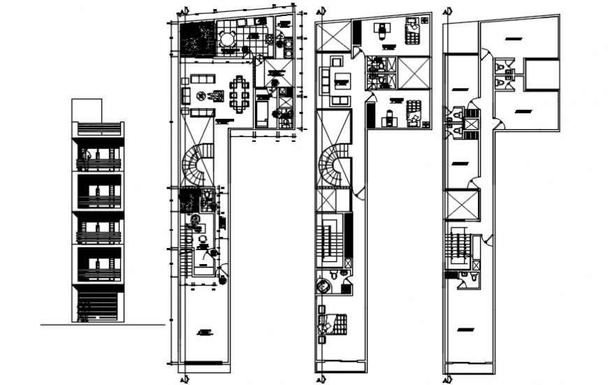 Four story residential building main elevation and floor plan drawing details dwg file