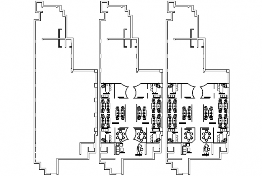 Fourth and fifth floor layout plan details for old office building dwg file