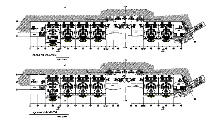 Fourth and fifth floor plan layout details of luxuries multi-level hotel dwg file