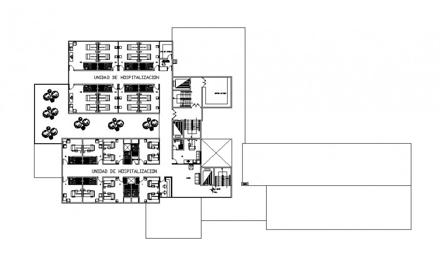 Fourth floor layout plan details of multi-story hospital building dwg file