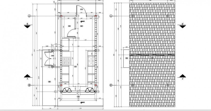 Framing plan and cover plan details of one family house dwg file