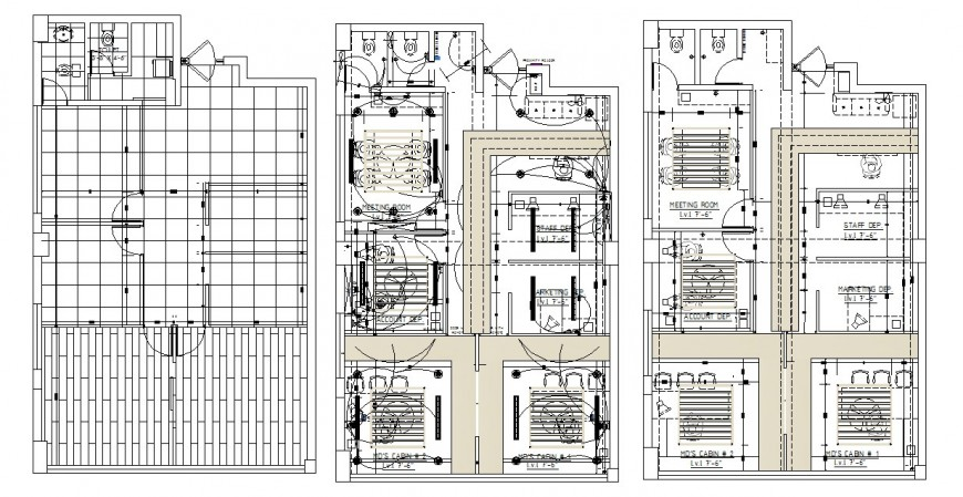 Framing plan and electrical installation drawing details for corporate office dwg file
