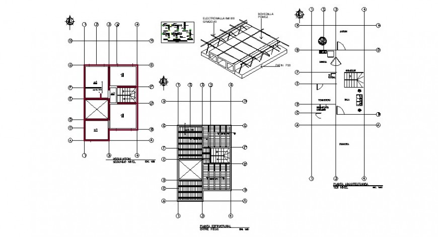 Framing plan and structure details for residential house dwg file