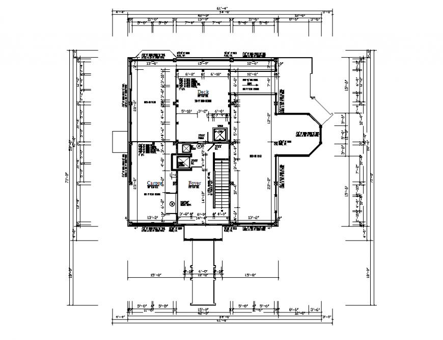Framing plan details of first floor of house dwg file