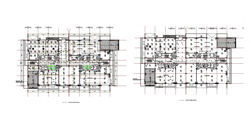 Framing plan structure details of two floors of apartment building auto-cad dwg file