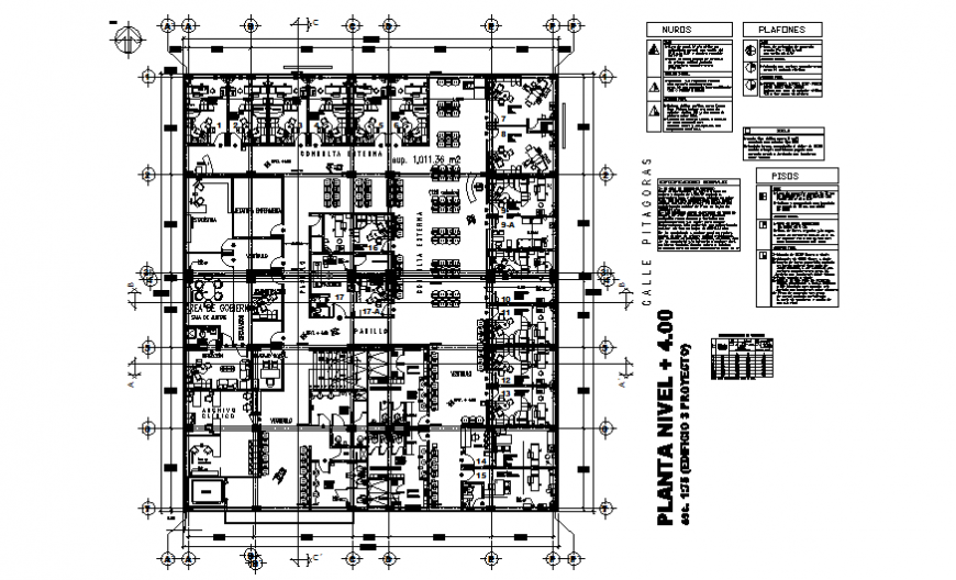 Framing plan with general layout plan details of office building floor dwg file