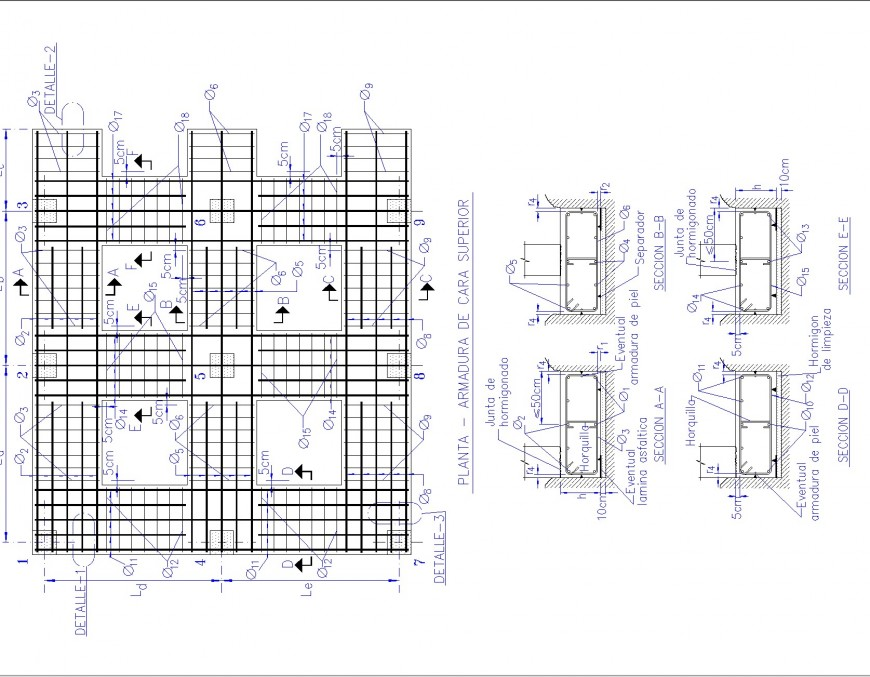 Framing reinforcement foundation plan and section plan dwg file