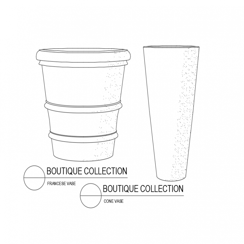 Frances vase and cone vase isometric view dwg file