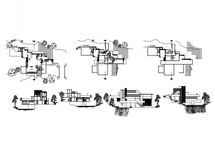 Frank Lloyd house wright falling water architecture project details dwg file