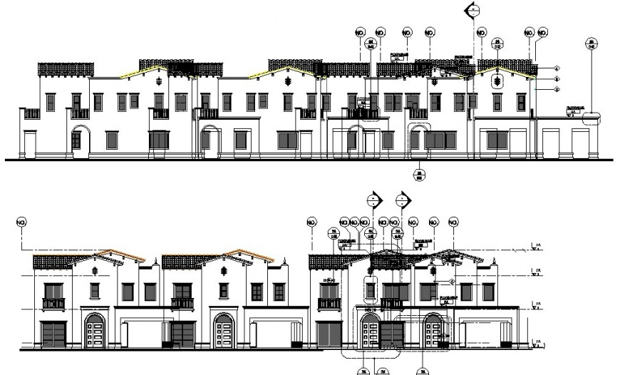 Front, back and side elevation drawing details of luxuries villa building dwg file