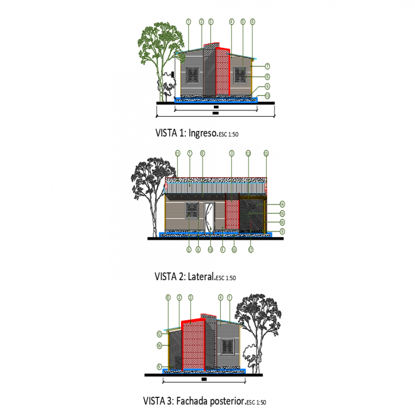 Front, back and side elevation view of wooden house dwg file