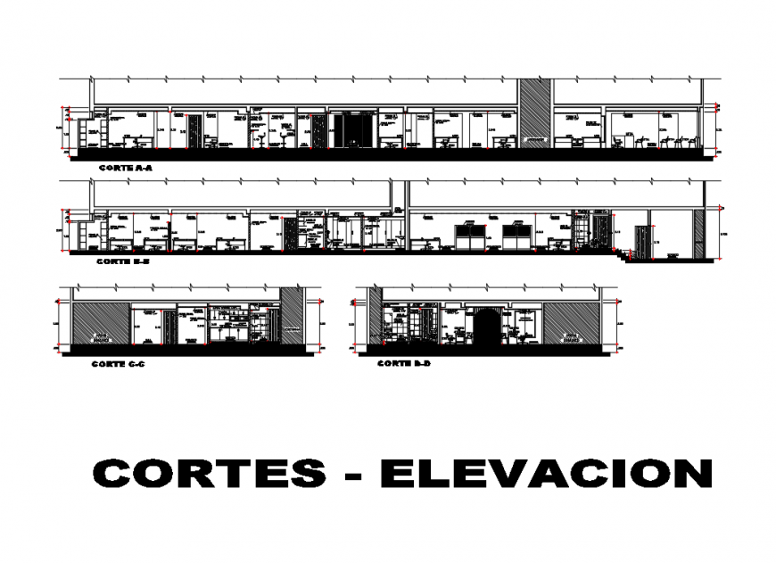 Front, back and side sectional details of corporate building dwg file