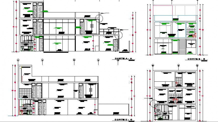 Front, back and side sectional details of one family house dwg file