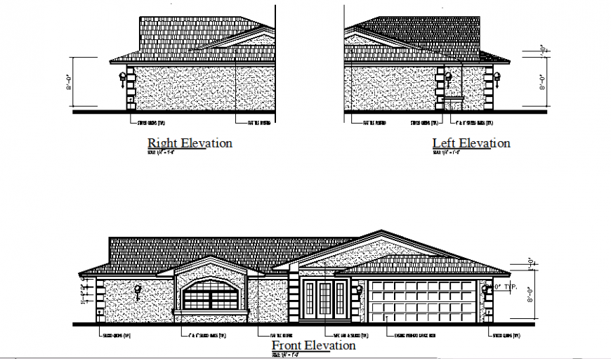 Front, left and right elevation of hotel in auto cad file