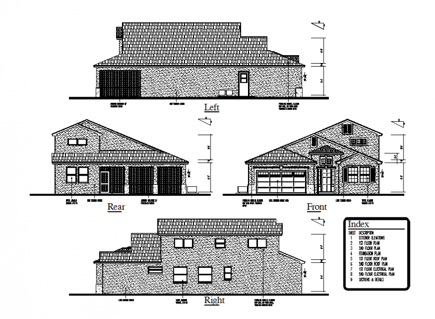 Front, rear, left and right side elevation details of one family house dwg file