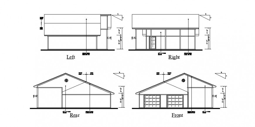 Front, rear, left and right side elevation of house cad drawing details dwg file