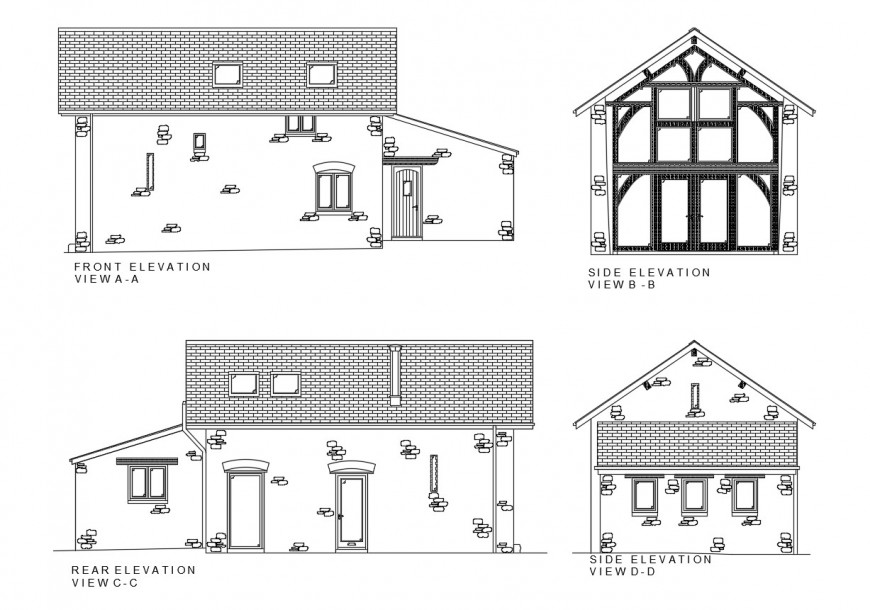 Front, rear and two sided elevation drawing details of residential house dwg file