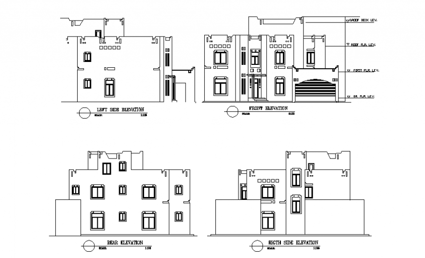 Front, right, left and rear side elevation details of two story house dwg file