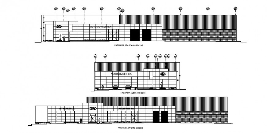 Front,back and side elevation drawing details of office building dwg file
