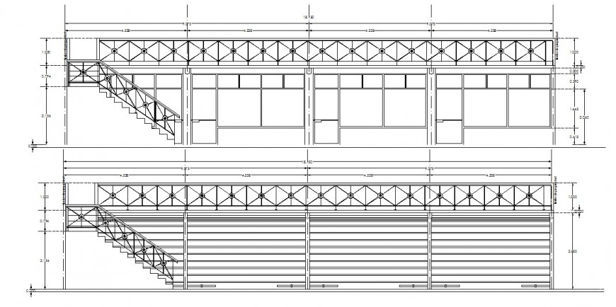 Front and back constructive sectional drawing details of commercial store dwg file