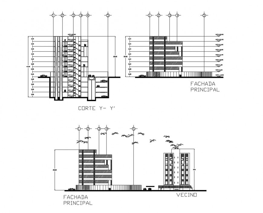 Front and back elevation and front section drawing details of corporate building dwg file