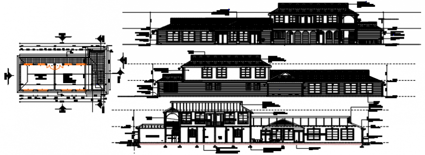 Front and back elevation and front section with plan of club house dwg file