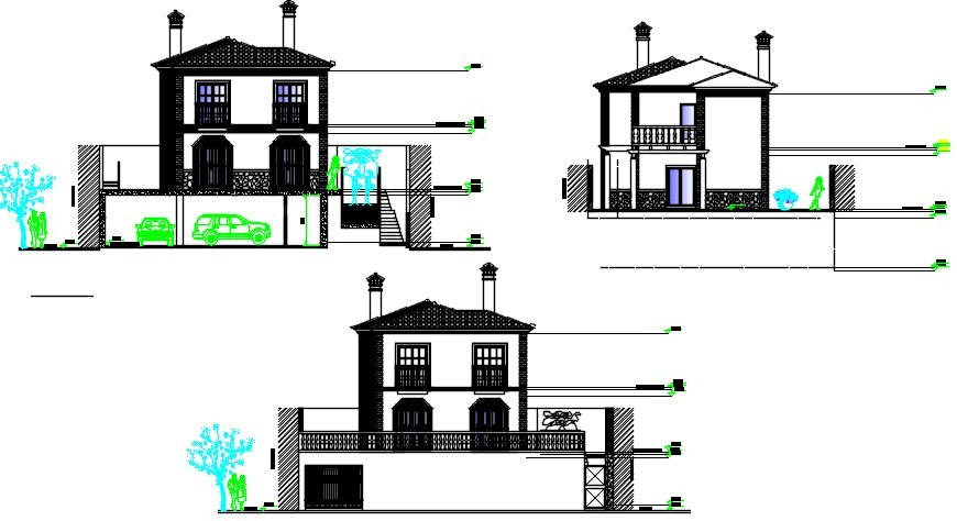 Front and back elevation and main section details of house dwg file