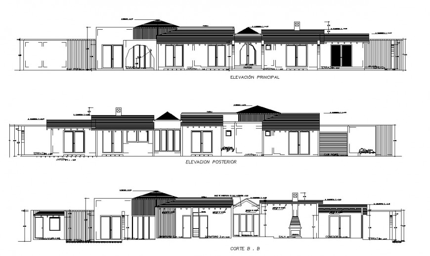 Front and back elevation and main section details of residential house dwg file