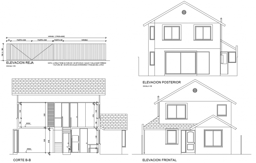 Front and back elevation and main sectional details of house cad drawing details dwg file