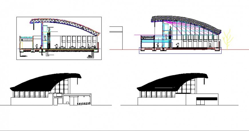 Front and back elevation and section details of library dwg file