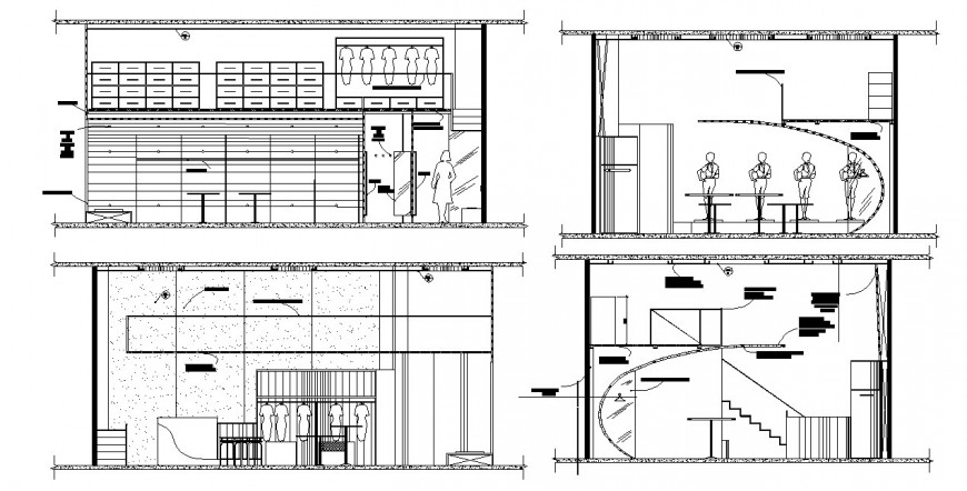 Front and back elevation and section details of lingerie store dwg file