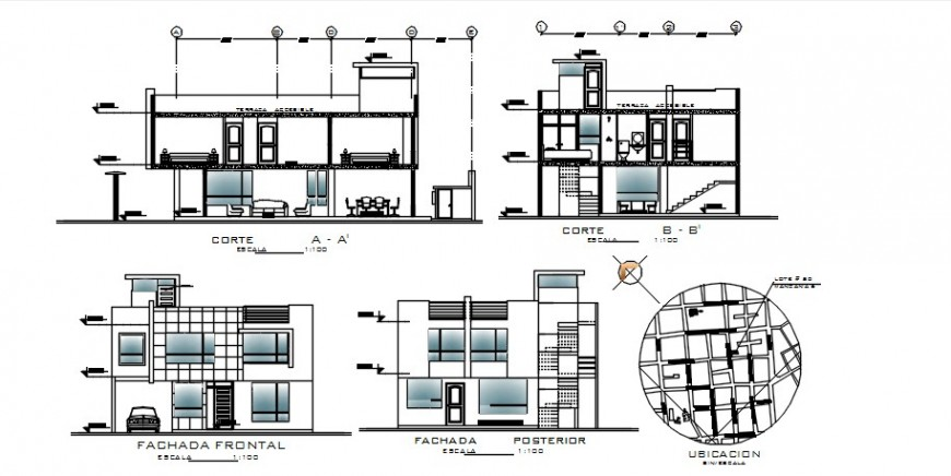 Front and back elevation and section details of residential house dwg file
