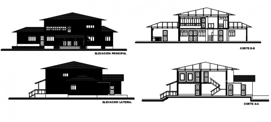 Front and back elevation and section drawing details of country house dwg file