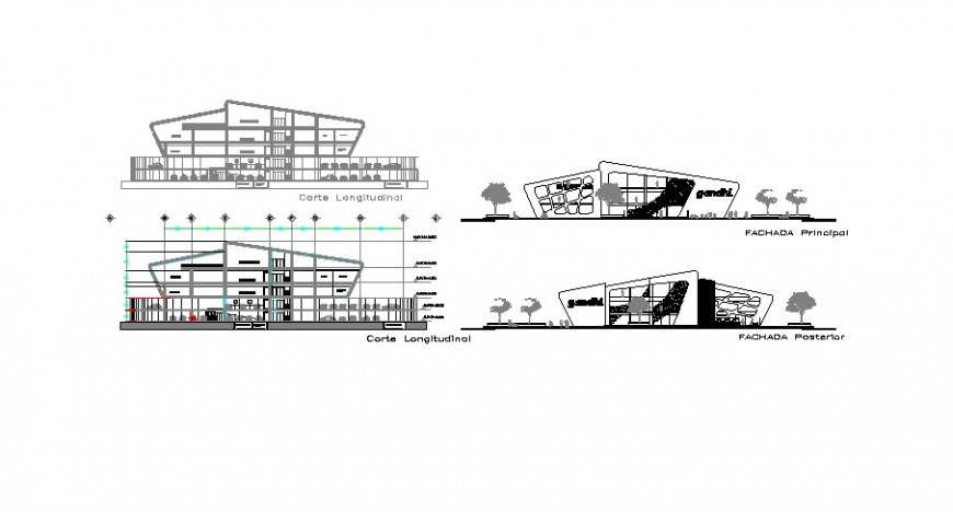Front and back elevation and section drawing details of luxuries hotel building dwg file
