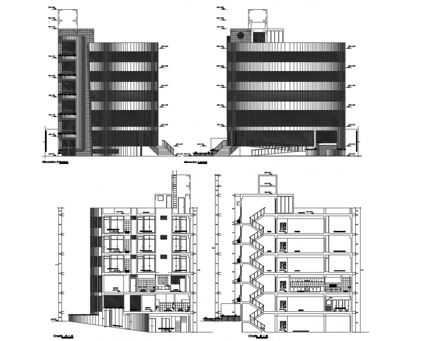 Front and back elevation and section drawing details of residential apartment building dwg file