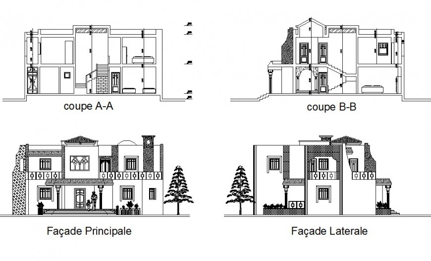 Front and back elevation and section drawing details of residential villa dwg file