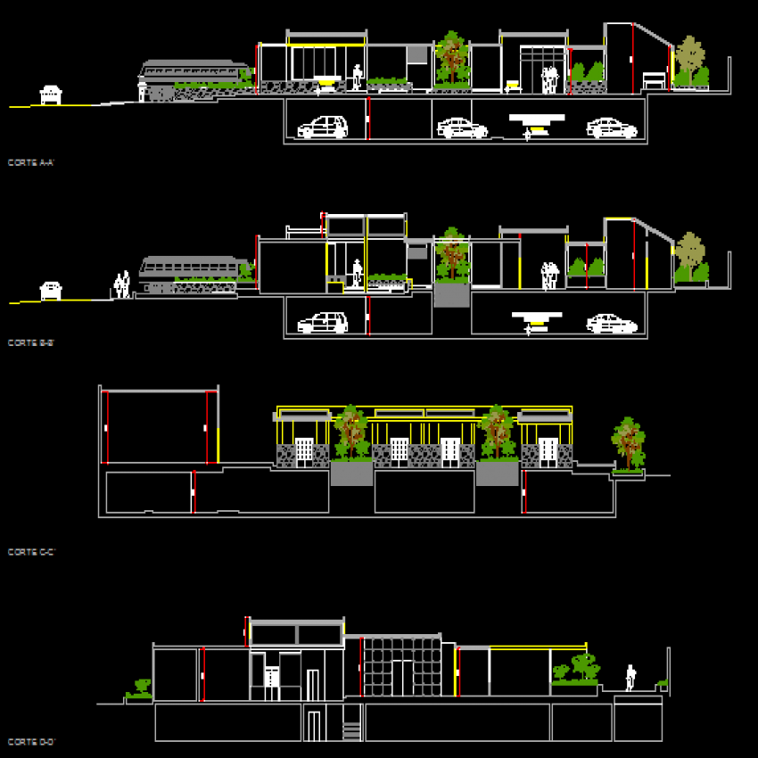 Front and back elevation and sectional view of office building dwg file