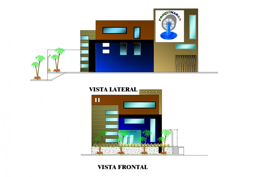 Front and back elevation details of local office building dwg file