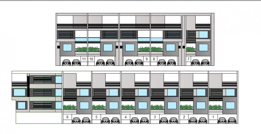 Front and back elevation details of multi-story apartment building dwg file