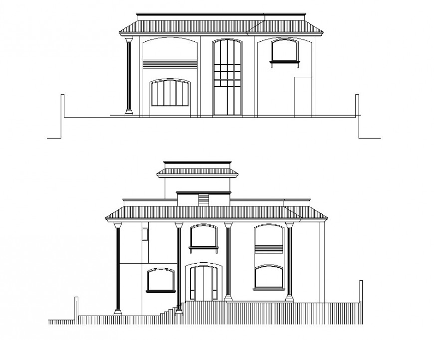 Front and back elevation details of one family residential house cad drawing details dwg file