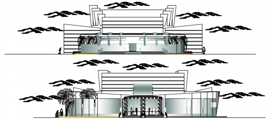 Front and back elevation drawing details of Amphi theater dwg file