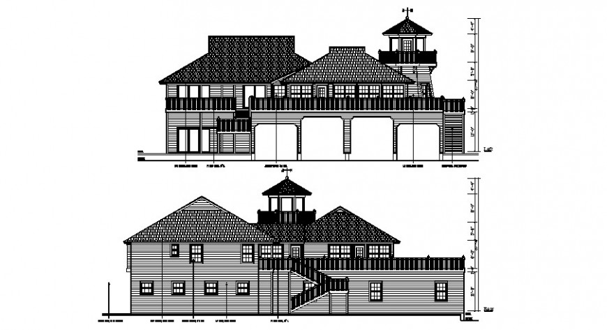 Front and back elevation drawing details of classic roof house dwg file