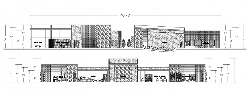 Front and back elevation drawing details of culture center dwg file