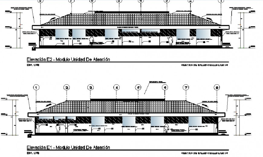 Front and back elevation drawing details of health center dwg file
