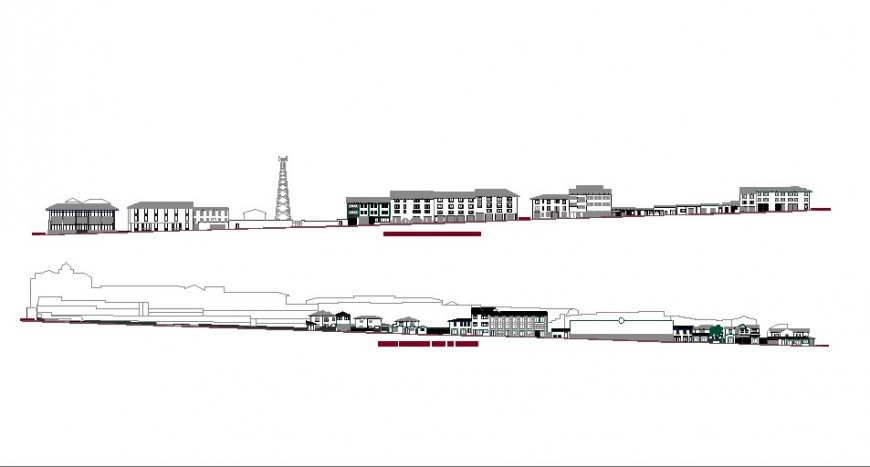 Front and back elevation drawing details of luxuries hotel building dwg file