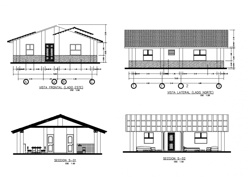 Front and back elevations and sectional details of single story house dwg file