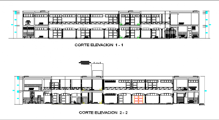 Front and back elevations details of two flooring school building dwg file