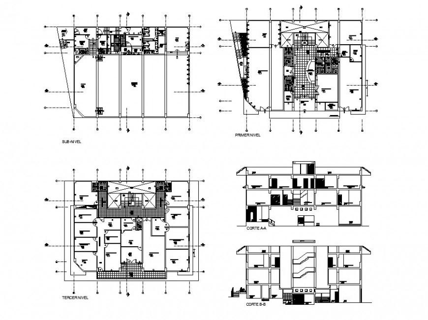 Front and back section and floor plan details of municipal district building dwg file
