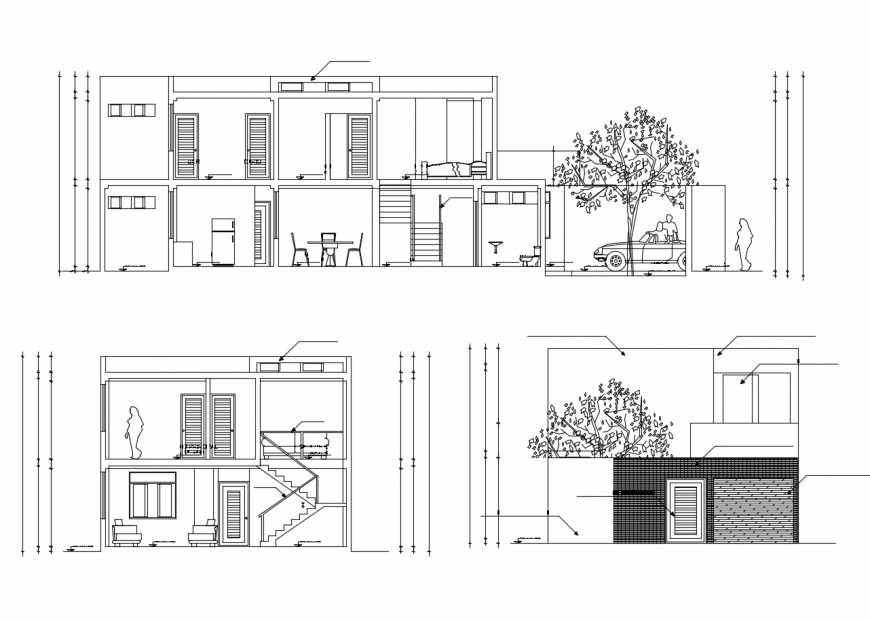 Front and back section and main elevation details of two story house dwg file